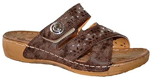Suave button Ligero Mule Slip Gezer On Comfy brown Mule Ladies Toe Peep Sandalias 70ZWqw