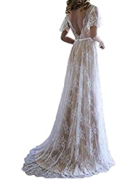 Women's Bohemian Wedding Dresses Short Sleeve V Neck Lace Beach Wedding Gowns ED73
