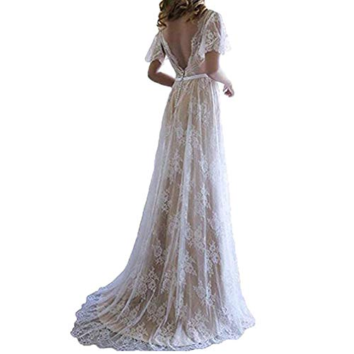 Fashionbride Women's Bohemian Wedding Dresses Short Sleeve V Neck Lace Beach Wedding Gowns ED73 Ivory/Champagne-US12