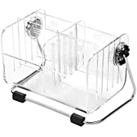 Erlvery DaMain Clear Desktop Acrylic TV Remote Control Holder/Media Storage Organizer/Mail and Cosmetics Stand w/Metal Rack & Removable Dividers- 360 Degree Rotatable - Holds up to 6 Remotes