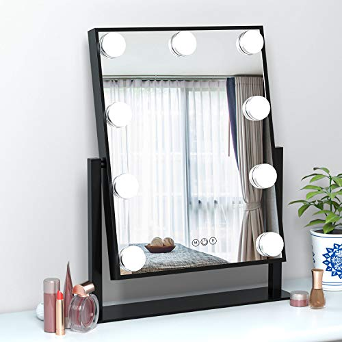 FENCHILIN Hollywood Mirror with Light Large Lighted Makeup Mirror Vanity Makeup Mirror Smart Touch Control 3Colors Dimable Light Detachable 10X Magnification 360°rotation(Black)