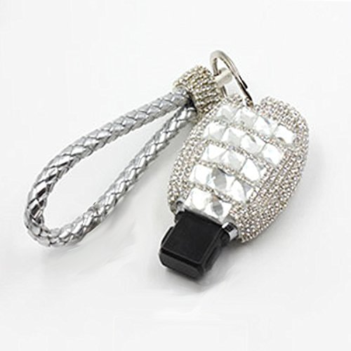 Thor-Inst Car Key Case Key Shell Fob Key Cover Case Bag Holder Key Chain with Bling Diamond For Mercedes-Benz C E S M CLS CLK GLK GL Class 2/3-button Keyless (Bling Keychain)