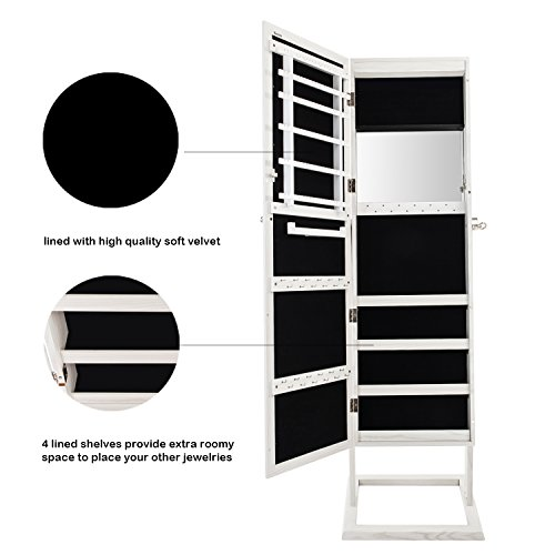 Bonnlo Jewelry Armoire Square Stand with 4 Adjustable Angle Tilting, Well Packed by styrofoam & Stiffer Covering, Lockable Heavy Duty Bedroom Make up Mirror Cabinet Organizer Closet by Bonnlo (Image #5)