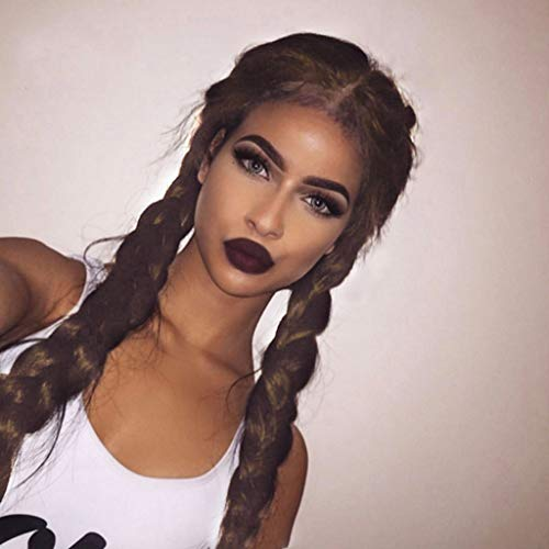 Celendi Lace Wig Synthetic Braids Lace Front Wig with Hair Long Black/Brown Double Braided Wigs