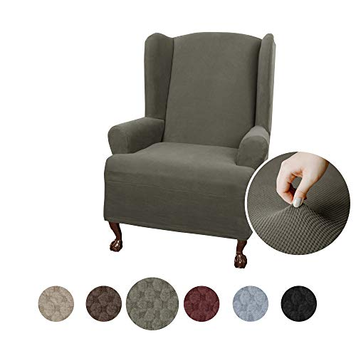 Maytex Pixel Ultra Soft Stretch Wing Back Arm Chair Furniture Cover Slipcover, Dusty Olive