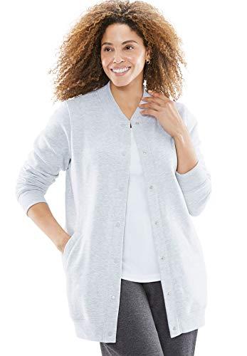 (Woman Within Women's Plus Size Fleece Baseball Jacket - Heather Grey, 1X)