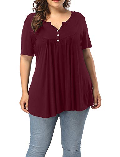 Allegrace Women's Plus Size Henley V Neck Button Up Tunic Tops Casual Short Sleeve Ruffle Blouse Shirts Wine Red 4X