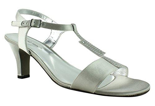 David Tate New Womens Stargaze-040 Silver T-Strap Heels Size 5.5