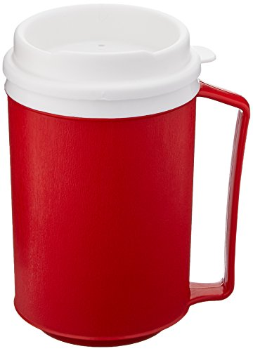 Sammons Preston Insulated Mug with Tumbler Lid, Durable Container for Hot and Cold Liquid Beverages, Tea, Smoothies, 12 oz Red Travel Coffee Cup with Lid for Elderly, Disabled, Handicapped, Weak Grip