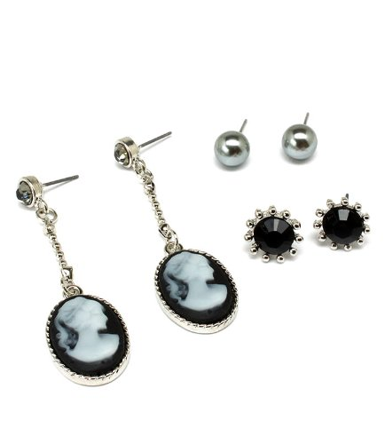 Cameo Set Earrings (3-piece Post Earring Set: Silvertone Black Cameos,Black Starbursts,Grey Faux Pearls;Gift Set)