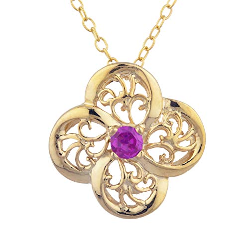 Created Ruby Clover Design Pendant Necklace 14Kt Yellow Gold Rose Gold Silver