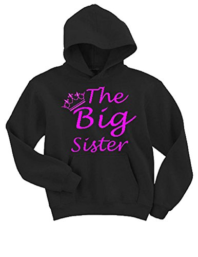 Kids Hoodie Sister (TheTshack Big Sister Shirt, Baby Girl Clothes, Pregnancy Announcement (Medium (6yrs-8yrs), Black))