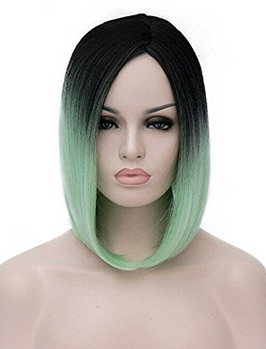 Amazon.com   Aystuff Bob Wig Shoulder Length Soft Synthetic Women s Wigs  with Free Wig Cap Wig Hair Extension (Green)   Beauty 73e36dbf3b