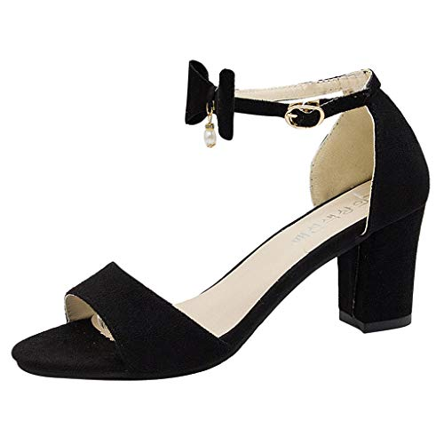 Londony ✡ Fashion T Strap Bows Womens Platform High Heel Pumps Shoes Adorable Buckle High Cone Heel Dress Pumps Black ()