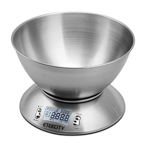 Etekcity 11lb Digital Kitchen Food Scale, Stainless Steel, Alarm Timer, Temperature Sensor