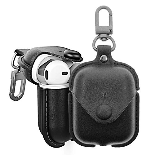 DEALPICK Genuine Leather Protective Case Cover for Apple Airpods Gen 1 & Gen 2 Charging Case with Keychain(360� Swivel Clip) Buckle[Support Wireless Charging] – Black