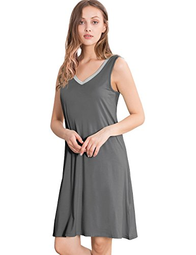 GYS Womens Bamboo Viscose Sleeveless V Neck Nightgown(S, Dark Grey Silver)