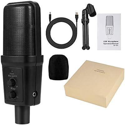 USB micrófono de Condensador de Estudio de Audio de micrófono PC ...