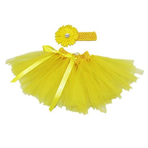 MizHome Newborn Baby Girls Birthday Layered Tulle Tutu Skirt Flower Daisy Headwear Outfits Yellow