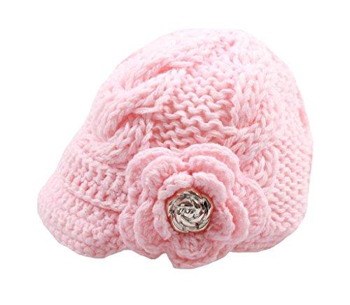 Handmade Knit - Bestknit Handmade Newborn Toddler Baby Girls Crochet Knit Brim Cap Hat Large Pink