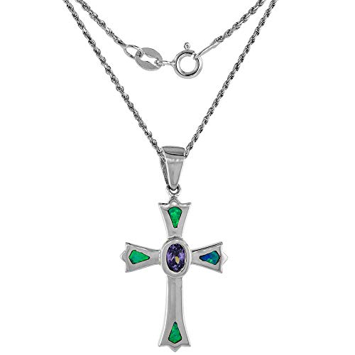 Sterling Silver Synthetic Opal Fleury Cross Necklace Oval Amethyst CZ Center 1 1/8 inch 16 inch ROPH_25