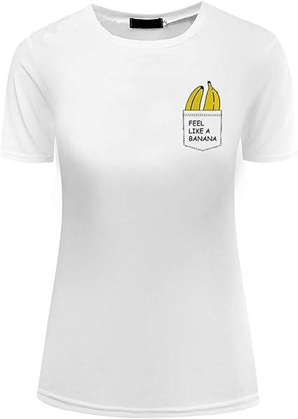 YUFAA Camiseta de Bolsillo de Mujer con Estampado de plátano Tumblr Camiseta de Manga Corta y Top Divertido Camisa de Entrenamiento (Color : Blanco, Size : S): Amazon.es: Ropa y accesorios