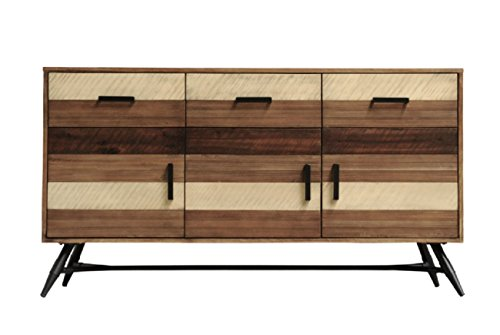 CDI FURNITURE BU1294 The The Medley Collection Modern Rustic Acacia Wood Buffet Table with Drawers and Cabinet Doors, Black