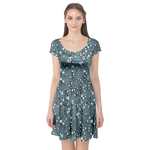 CowCow Womens Blue Water with Pattern Tree Japanese Cherry Blossom Cap Sleeve Dress, Blue - XL