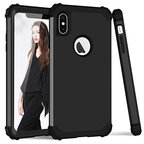 - iPhone X Case, iPhone Ten Case, SUMOON 3 in 1 [Full-Body Protective ] [Shockproof] [Fit Perfect] Hard PC+ Soft Silicon Rubber Armor Defender Protective Case Cover for iPhone X/10 2017 (Black)