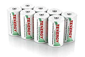 Tenergy Centura 1.2V NiMH Rechargeable D Battery, 8000mAh Low Self Discharge D Cell Batteries, Pre-charged D Size Battery, 8 Pack