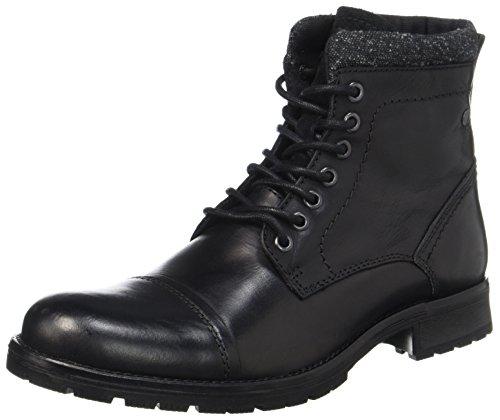 JACK & JONES Jfwmarly Leather Black, Stivali Classici Uomo Nero (Black)