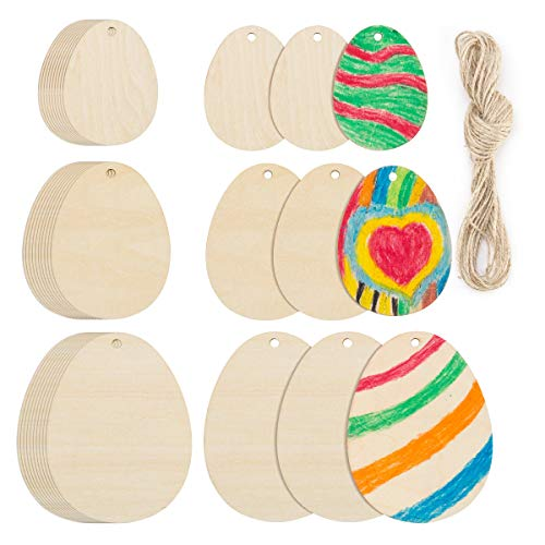 30 Pieces Easter Egg Unfinished Wood Ornaments Wood Slices DIY Crafts Unfinished Wooden Easter Ornaments with Hemp Rope for Kids Easter Party Supplies Home Hanging Decoration (Easter -