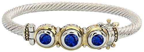 - John Medeiros Beautiful Beijos Collection Handcrafted Three Stone Sapphire Blue Cubic Zirconia Bracelet with Hidden Clasp Closure Made in America