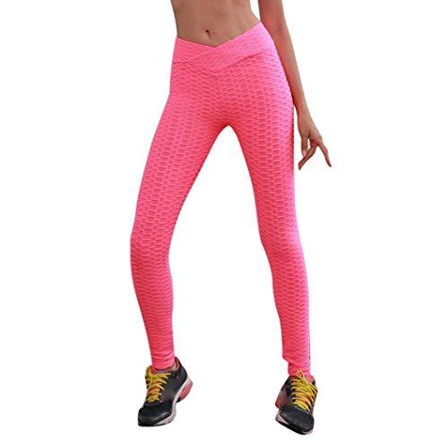 Pantalón Alta Cordón Mujer Cintura Impreso de Jeans ASHOP Pantalones Boho Casuales Harem Estilo Ocio de Sueltos Pantalones Cintura de Fitness Leggings de Vaqueros Rosado Yoga fgxnnZqaw