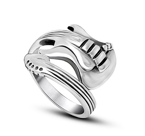 Jewelry Home Vintage Punk Men Guitar Shape Stainless Steel Ring (Mens Guitar Ring)