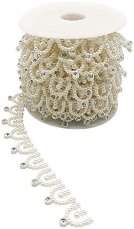 Healifty パールビーズコットンラインチェーンパールトリムガーランドストランドストリングDIYドレスシューズ帽子装飾用結婚