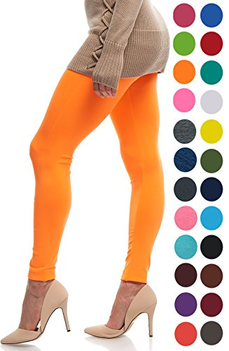 LMB | Seamless Full Length Leggings | Variety of Colors | One Size | Neon Orange