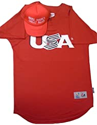 President Donald Trump Autographed Hand Signed USA United States Baseball Jersey (Size 44) with Proof Photo of Donald Signing and MAGA Make America Great Again Trucker Style Baseball Hat, COA