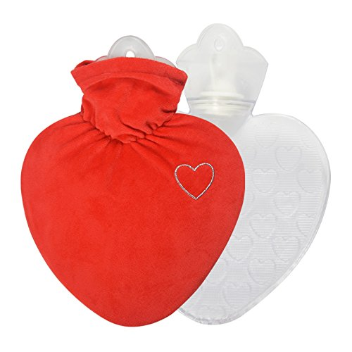 Hugo Frosch 1L Heart Shape Hot-Water Bottle with Velour Cover, red - Made in Germany