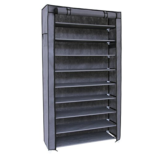 SONGMICS 10 Tiers Shoe Rack With Dustproof Cover Closet Shoe Storage  Cabinet Organizer Grey URXJ36G