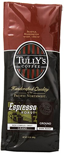 Tully's Coffee Espresso Blend,  Ground Dark Roast, 12-Ounce Bags (Pack of 2)