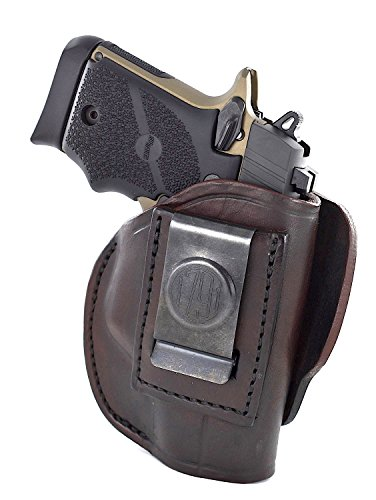 People Leather - 1791 GUNLEATHER 4-WAY SIG P938 Holster - OWB and IWB CCW Holster - Right Handed Leather Gun Holster - Fits Sig Sauer P938, P365 Ruger LCP 380 and SW Bodyguard - Signature Brown