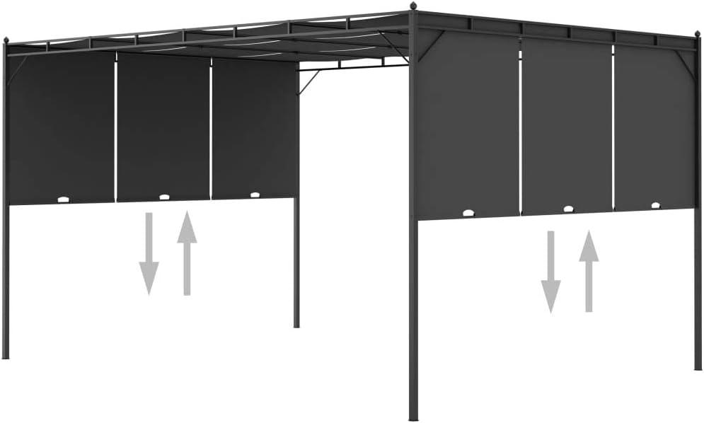 Festnight Gazebo Pergola da Giardino 3x3m//3x4m Telo Scorrevole Poliestere Impermeabile Struttura in Acciaio con Tetto a Scomparsa Antracite//Crema