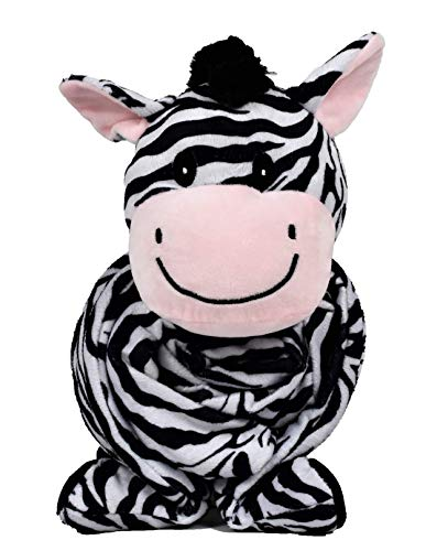 "SNUGGIES Zebra Stuffed Animal Blanket & Cuddly Pillow 2-in-1 Combo – Super Soft and Cuddly Baby Zebra Blanket 37"" x 30"" and Zoo Plush Toy 14"" x 8"" – Perfect Unisex Baby Shower Gift by Snuggies"