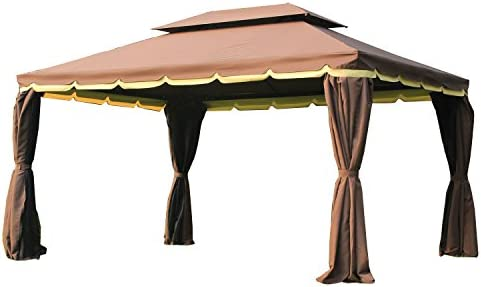 Outsunny 10 x 13 Aluminum Outdoor Garden Gazebo with Curtains – Coffee