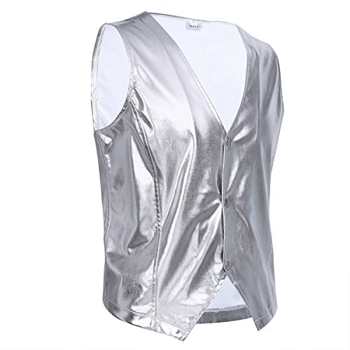 YiZYiF Men's Shiny Metallic PVC Leather Old School Black Costume Vest Top Sliver X-Large
