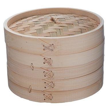 VonShef 10 Inch Bamboo Steamer Set with 2 x Free Chopsticks