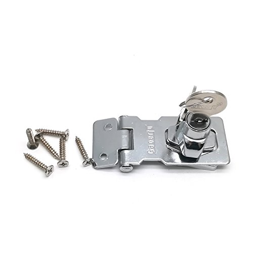 Yootop Chrome Plated Keyed Entry 90 Degree Rotation Safety Guard Hasp Lock Latch for Doors Cabinet by Yootop