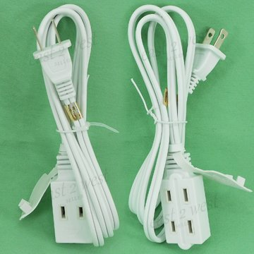 3 Extension Cords 4+6+12 Feet 3 Outlet Grounded 2 Conducter 13A Polarized PT3704-06-12