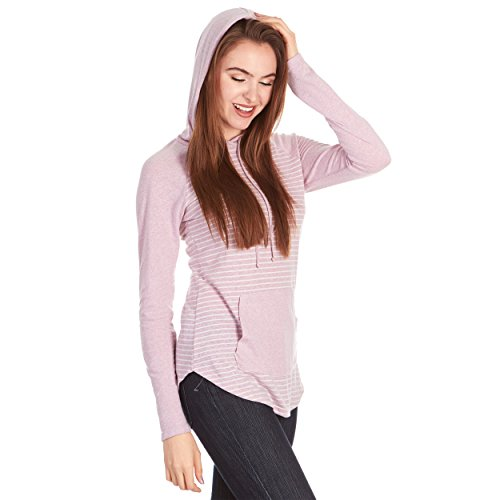 Raglan Long Sleeve Frost Jersey Triblend Junior and Plus Sizes with Pocket Hem Hoodie, Made in USA (1x plus size, Mauve/Cream)